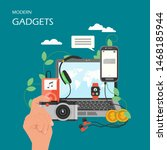 modern gadgets flat... | Shutterstock . vector #1468185944