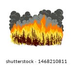 Wildfire In Forest. Hand Drawn...