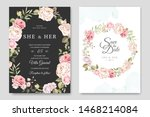 wedding card template with... | Shutterstock .eps vector #1468214084