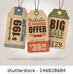 Stock vector vintage style sale tags design 146828684