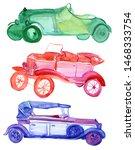 Set Of Retro Cars. Watercolor...