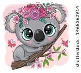 Cute Cartoon Koala With Flower...