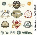 vector set  retro car racing...