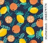 hand drawn summer tropical... | Shutterstock . vector #1468379774