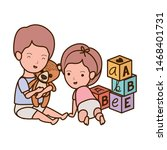 isolated baby boy and girl... | Shutterstock .eps vector #1468401731