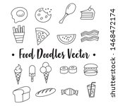 simple food doodles  colorful... | Shutterstock .eps vector #1468472174