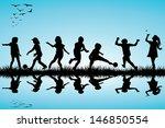group of children silhouettes... | Shutterstock .eps vector #146850554