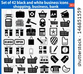 Vector set of beautiful black and white business icons. EPS 10