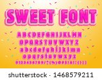 sweet font. pink letters.... | Shutterstock .eps vector #1468579211