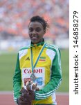 Small photo of DONETSK, UKRAINE - JULY 14: Silver medalist in 800 metres Dureti Edao of Ethiopia on the medal ceremony during 8th IAAF World Youth Championships in Donetsk, Ukraine on July 14, 2013