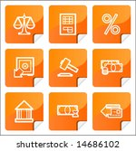 orange stickers finance icons