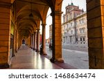 Small photo of Arched street next to the Palazzo Ducale of Modena, Italy, a spectacular place highly recommended for tourism and incalculable beauty