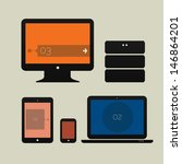 flat design ui device icons of... | Shutterstock .eps vector #146864201