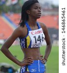 Small photo of DONETSK, UKRAINE - JULY 13: Tia-Adana Belle of Barbados before the start in the final of 400 metres hurdles during 8th IAAF World Youth Championships in Donetsk, Ukraine on July 13, 2013
