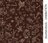 cartoon tattoo seamless pattern ... | Shutterstock .eps vector #146867474