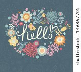 Bright Summer Card On Floral...