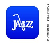saxophone icon blue isolated on ...