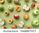 green apples and peaches on a... | Shutterstock . vector #1468847417