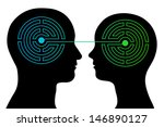 head silhouettes of a couple... | Shutterstock .eps vector #146890127