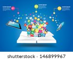 book with mobile phones and... | Shutterstock .eps vector #146899967