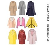 isolated  set of female coat | Shutterstock .eps vector #1469019464