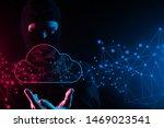 hacker mask man hand  cloud...