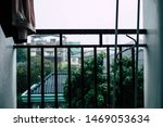 Stock photo the falling rainfall will fall on the back porch 1469053634