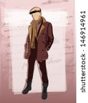 fashion man on vintage... | Shutterstock .eps vector #146914961