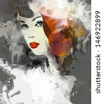 woman face. hand painted... | Shutterstock . vector #146922899