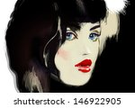 woman face. hand painted... | Shutterstock . vector #146922905