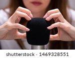 woman scratching microphone...   Shutterstock . vector #1469328551