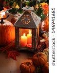 Lantern With Candles  Pumpkins...