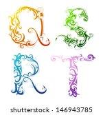 set of decorative letter shapes