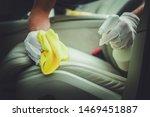 Car Leather Seats Treatment. Vehicle Interior Maintenance. Automotive Theme. - stock photo