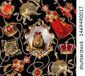 Stock photo seamless royal dynasty objects fashionable pattern in ancient vintage style with lion king chain 1469490017