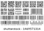 Stock vector barcodes scan bar label qr code and industrial barcode product inventory badge codes stripe 1469571314