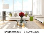 urban loft with roses and sofa... | Shutterstock . vector #146960321
