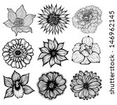 set of 9 different hand drawn... | Shutterstock .eps vector #146962145