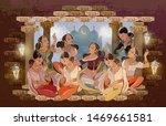 east murals. women in national...   Shutterstock .eps vector #1469661581