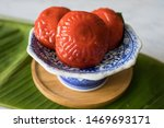 Stock photo ang ku kueh or red tortoise cakes are shaped to look like tortoise shells sweet and tasty with 1469693171