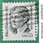 Small photo of UNITED STATES OF AMERICA - CIRCA 1995: stamp printed in USA shows Alice Hamilton, social reformer, circa 1995