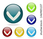 down arrow sphere button   icon
