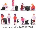 set of people picking up trash...   Shutterstock .eps vector #1469912081