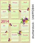 2014 violets calendar  | Shutterstock .eps vector #146992844