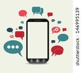 a cellphone chat concept | Shutterstock .eps vector #146995139