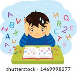 confused kid looking at letters ... | Shutterstock .eps vector #1469998277