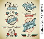Classic Bicycles Vector Label Collection