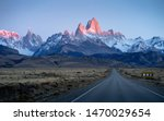 Road to Patagonia ( Mt. Fitz roy and Cerro Torre) in El Chalten, Agentina with beautiful peaks and mountain range during sunrise in the background.