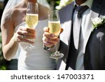 bride and groom making a toast... | Shutterstock . vector #147003371