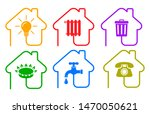 utilities icons in flat style ... | Shutterstock .eps vector #1470050621
